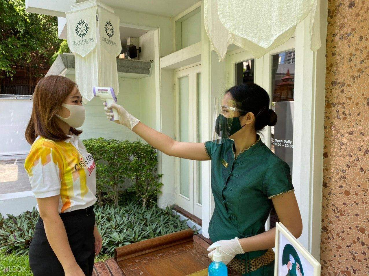 Temperature check and surgical mask required for each customer and masseur